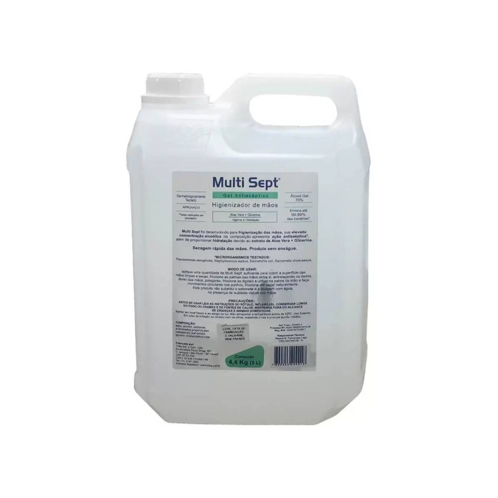 Álcool Gel 70% Multi Sept Aloe Vera 5L – TRILHA