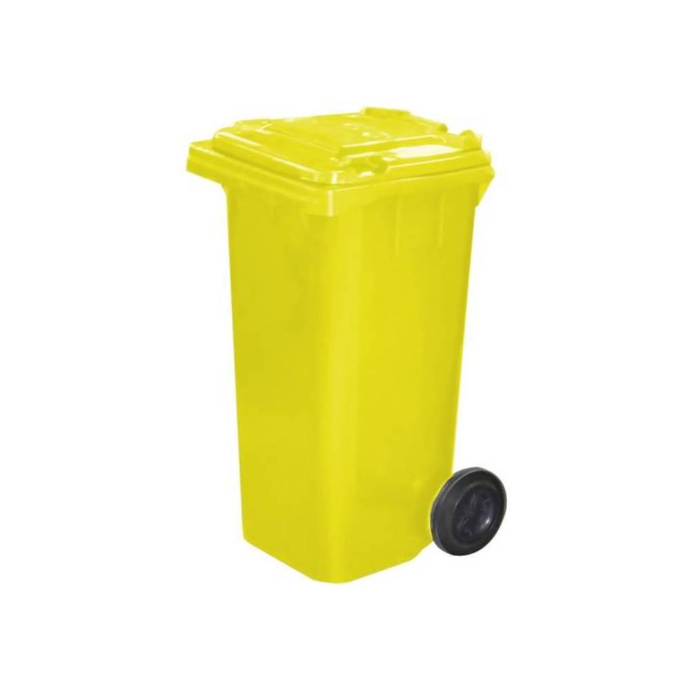 Contentor com Rodas Amarelo 120L – BRALIMPIA