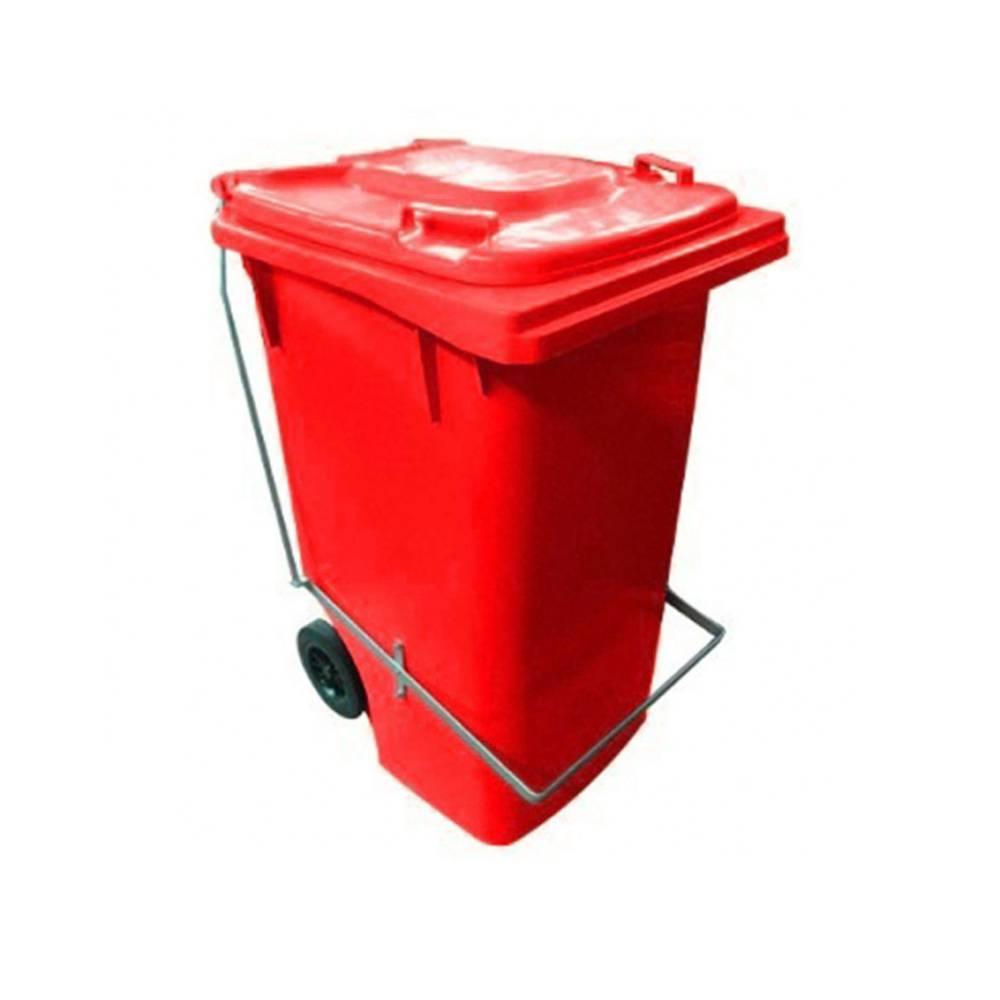 Contentor com Rodas e Pedal Vermelho 240L – BRALIMPIA