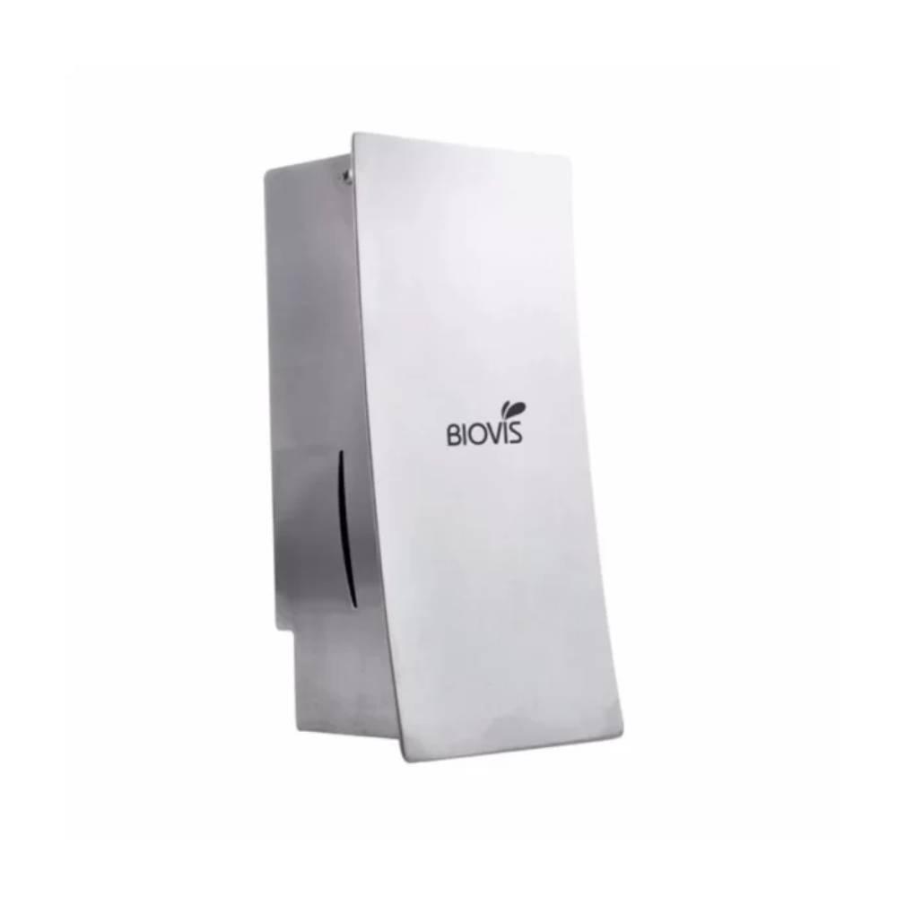 Saboneteira com Reservatório Aço Escovado Inox Slim Noble – BIOVIS